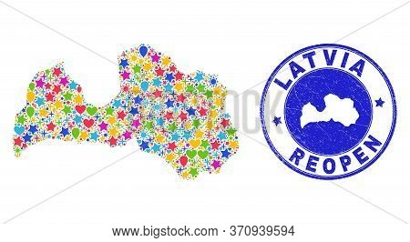 Celebrating Latvia Map Collage And Reopening Rubber Stamp Seal. Vector Collage Latvia Map Is Compose