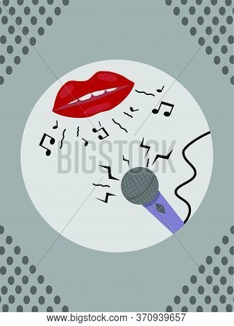 Karaoke Or Singing Vector Design With A Mouth Singing Musical Notes With A Microphone