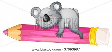illustration of a bear sleeping on pencil on white