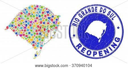 Celebrating Rio Grande Do Sul State Map Collage And Reopening Rubber Seal. Vector Mosaic Rio Grande