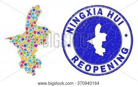 Celebrating Ningxia Hui Region Map Mosaic And Reopening Unclean Stamp Seal. Vector Mosaic Ningxia Hu