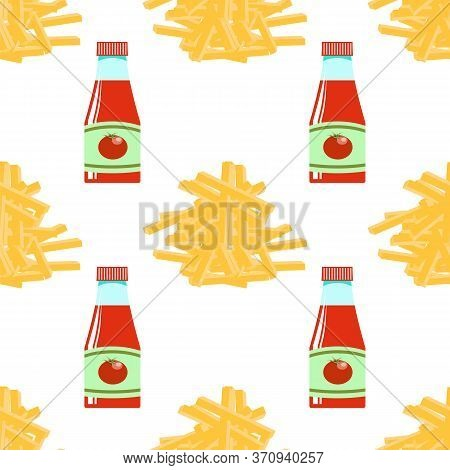 Yellow French Fries And Ketchup Texture. Fry Potato Chips Seamless Pattern On White Background. Slic