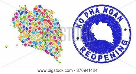 Celebrating Ko Pha Ngan Map Mosaic And Reopening Rubber Stamp. Vector Mosaic Ko Pha Ngan Map Is Comp