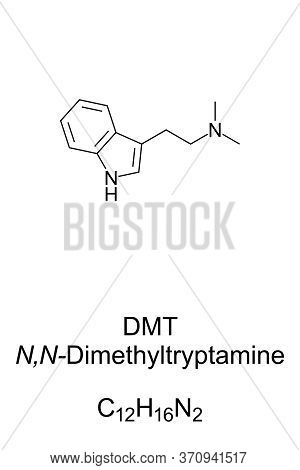 Dmt, Skeletal Formula And Structure. N,n-dimethyltryptamine, A Chemical Substance And Psychedelic Dr
