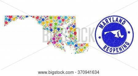 Celebrating Maryland State Map Collage And Reopening Rubber Watermark. Vector Collage Maryland State