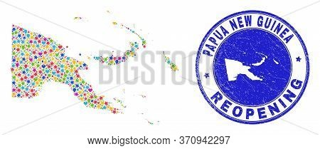 Celebrating Papua New Guinea Map Collage And Reopening Rubber Stamp Seal. Vector Collage Papua New G
