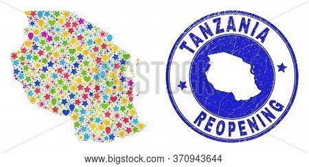 Celebrating Tanzania Map Mosaic And Reopening Rubber Stamp. Vector Mosaic Tanzania Map Is Constructe
