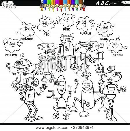Black And White Educational Cartoon Illustration Of Basic Colors With Robots And Droids Characters G