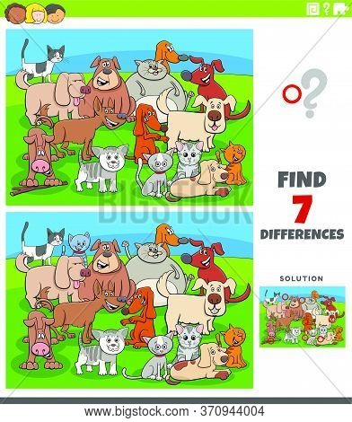 Cartoon Illustration Of Finding Differences Between Pictures Educational Game For Kids With Comic Ca