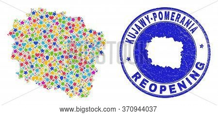 Celebrating Kujawy-pomerania Province Map Collage And Reopening Rubber Watermark. Vector Collage Kuj