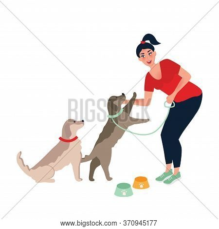 The Girl Feeds And Strokes The Dog. A Dog's Dinner. Feeding And Caring For Pets . Vector Illustratio
