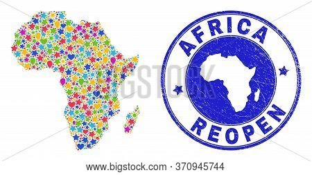 Celebrating Africa Map Collage And Reopening Corroded Seal. Vector Collage Africa Map Is Created Wit