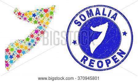 Celebrating Somalia Map Mosaic And Reopening Scratched Seal. Vector Mosaic Somalia Map Is Made From