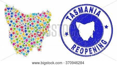Celebrating Tasmania Island Map Mosaic And Reopening Scratched Stamp Seal. Vector Mosaic Tasmania Is