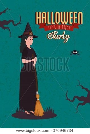 Poster Of Party Halloween With Woman Disguised Of Witch Vector Illustration Design