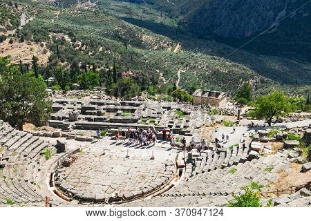 Delphi, Greece - September 21, 2017: Panoramic View Of Ancient Theatre Or Amphitheater During Excurs