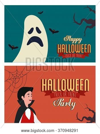 Set Poster Of Party Halloween With Man Disguised And Ghost Vector Illustration Design