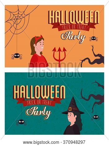 Set Poster Of Party Halloween With Women Disguised Vector Illustration Design