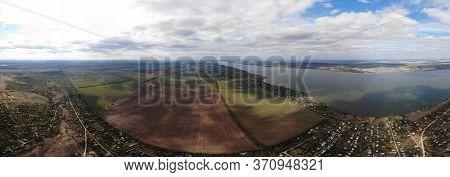 Aerial Panorama View Of Khadzhibei Estuary, Odessa Region, Ukraine
