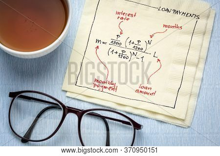 loan payment equation sketched on a napkin with a cup of tea, business or personal finance concept