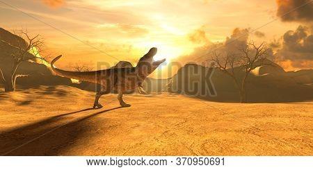 Tyrannosaurus Rex Against Sunset And Beautiful Yellow Sky, 3d Illustration