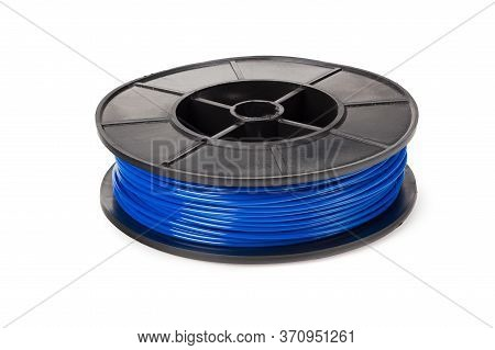 Blue Filament 3d Printer Isolated On White Background
