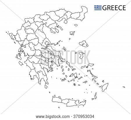 Greece Map, Black And White Detailed Outline Regions Of The Country.
