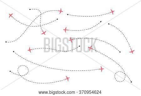 International Flights. Airline Routes. Dotted Line Air Path With Icons Of Airplanes. Vector Illustra