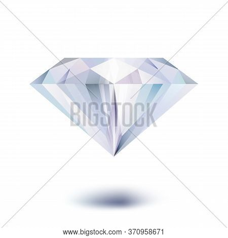 Realistic Diamond Isolated On White Background. Vector Illustration.