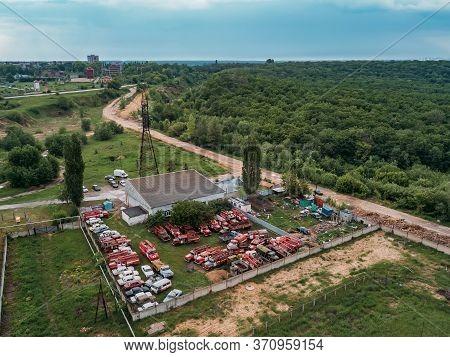 Old Rusty Broken Russian Fire Trucks For Scrap Metal, Aerial View