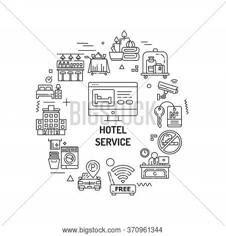 Hotel Service Web Banner. Amenities For For Guests. Hotel Resort. Reservation Apartament. Infographi