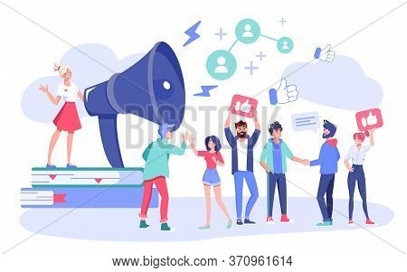 Influencer Digital Marketing Concept. Follower Customers And Clients To Business Attraction. Blogger