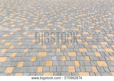 Paving Stone Tiles Pattern Of Square And Rectangular Shape Of Gray And Yellow Area Are Paved In Pers