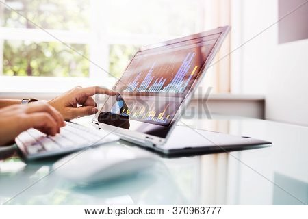 Online Business Analytics And Kpi Dashboard On Laptop