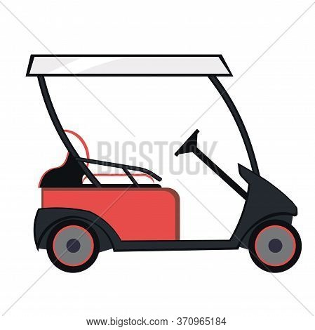 Red Colored Golf Cart On A White Isolated Background. Electric Golf Car. Golf Transport, Vehicle Iso