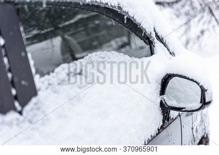 Snowdrift Of Snow By Car. Car Standing In Snow. Snow Covered Car. Winter, Snow, Car In Snowdrift.