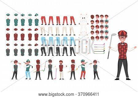 Golfer Character Constructor. Man Golfer Creation Set. Different Equipments, Postures, Emotions, Leg