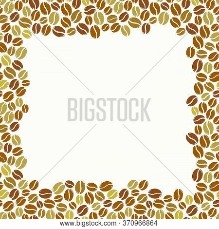 Roasted Coffee Beans Blank Light Square Frame. Graphic Menu Template Vector Illustration.