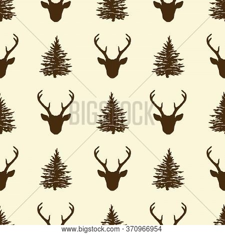 Seamless Pattern With Deer Head And Fir Tree Silhouettes. Vector Winter Holiday Christmas Background