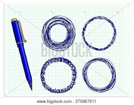 Vector Freeform Round Strokes Doodle Blank Frames Set And A Blue Ballpoint Pen. Hand Drawn Border Il
