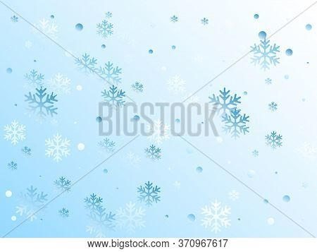 Crystal Snowflake And Circle Elements Vector Design. Macro Winter Snow Confetti Scatter Card Backgro