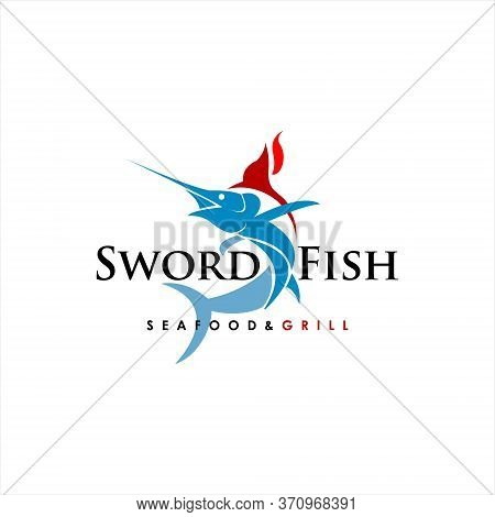 Modern Swordfish Vector Seafood And Grill. Food And Drink Logo Template Inspiration