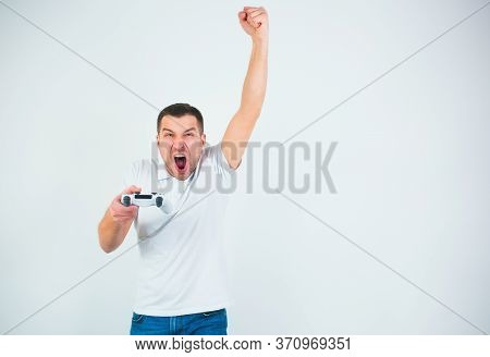Young Man Isolated Over White Background. Half Lenght Portrait Of Man Cheering And Screaming Out Lou