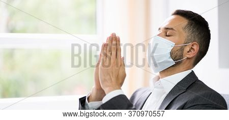 Man Prayer Worshiping Seeking God In Face Mask