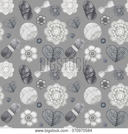 Watercolor Seamless Pattern Hobby Crochet Heart, Bow, Flower, Hook, Buttons On Gray Background. Scan