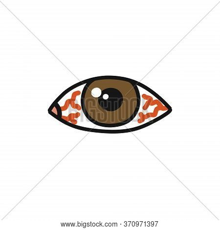 Eye Redness Doodle Icon, Vector Color Illustration
