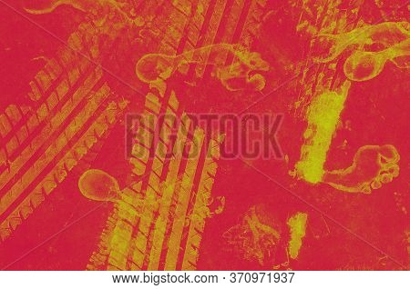 Road Tire And The Human Footprint On The Road. Background Texture, Pattern Of Red And Yellow. Textur