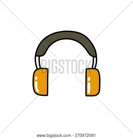 Protective Ear Muffs Doodle Icon, Vector Color Illustration