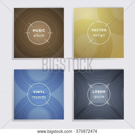 Cool Plate Music Album Covers Collection. Semicircle Curve Lines Patterns. Simple Plate Music Record