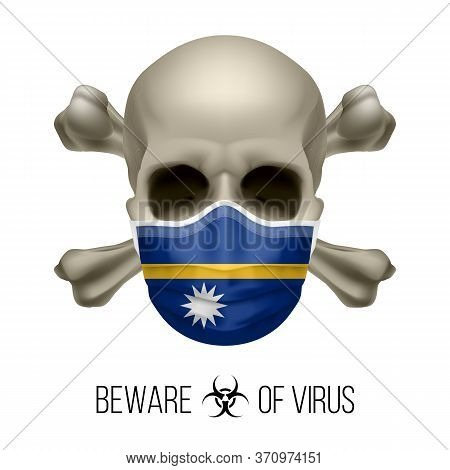 Human Skull With Crossbones And Surgical Mask In The Color Of National Flag Nauru. Mask In Form Of T